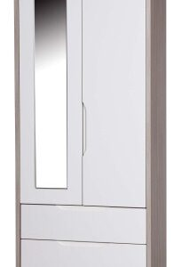 Breeze Gloss Quality Bedroom Small Combi Mirror Wardrobe - Fully Assembled Champagne Frame Variety Of Door Drawer Colours