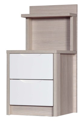 Breeze Gloss Quality Bedroom 2 Drawer Bedside Headboard - Fully Assembled Champagne Frame Variety Of Drawer Colours