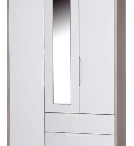 Breeze Gloss Quality Bedroom Combi Mirror Wardrobe - Fully Assembled Champagne Frame Variety Of Door Drawer Colours