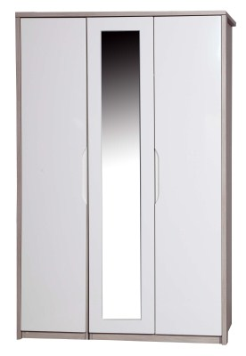 Breeze Gloss Quality Bedroom 3 Door Mirror Wardrobe - Fully Assembled Champagne Frame Variety Of Door Colours