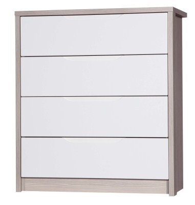 Breeze Gloss Quality Bedroom 4 Drawers Chest - Fully Assembled Champagne Frame Variety Of Drawer Colours