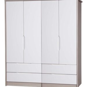 Breeze Gloss Quality Bedroom Double Combi Wardrobe - Fully Assembled Champagne Frame Variety Of Door Drawer Colours