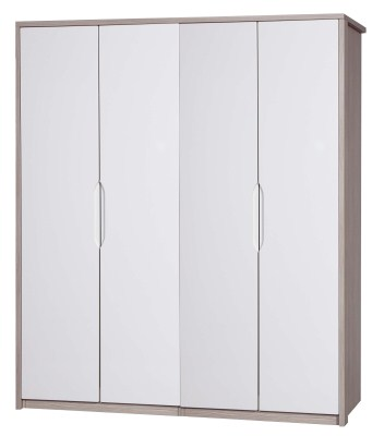 Breeze Gloss Quality Bedroom 4 Door Wardrobe - Fully Assembled Champagne Frame Variety Of Door Colours