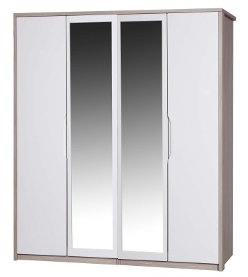 Breeze Gloss Quality Bedroom 4 Door Mirror Wardrobe - Fully Assembled Champagne Frame Variety Of Door Colours
