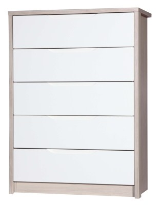 Breeze Gloss Quality Bedroom 5 Drawer Chest - Fully Assembled Champagne Frame Variety Of Drawer Colours