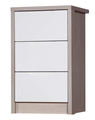 Breeze Gloss Quality Bedroom 3 Drawer Bedside Chest - Fully Assembled Champagne Frame Variety Of Drawer Colours