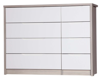 Breeze Gloss Quality Bedroom 4 Drawer Chest Double - Fully Assembled Champagne Frame Variety Of Drawer Colours