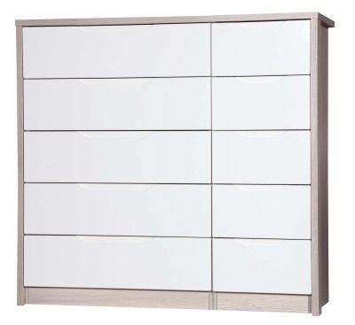 Breeze Gloss Quality Bedroom 5 Drawer Chest Double - Fully Assembled Champagne Frame Variety Of Drawer Colours