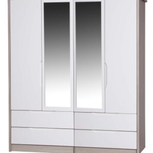 Breeze Gloss Quality Bedroom Double Combi Mirror Wardrobe - Fully Assembled Champagne Frame Variety Of Door Drawer Colours