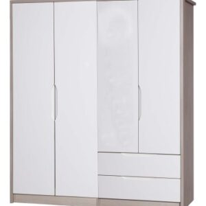 Breeze Gloss Quality Bedroom Large Combi Wardrobe - Fully Assembled Champagne Frame Variety Of Door Drawer Colours