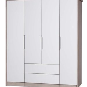 Breeze Gloss Quality Bedroom Large Combi Center Wardrobe - Fully Assembled Champagne Frame Variety Of Door Drawer Colours