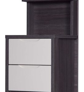 Julia Gloss Quality Bedroom 2 Drawer Bedside Headboard - Fully Assembled Grey Frame Variety Of Drawer Colours