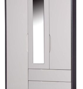 Julia Gloss Quality Bedroom Combi Mirror Wardrobe - Fully Assembled Grey Frame Variety Of Door Drawers Colours