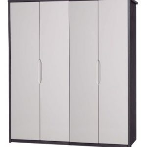 Julia Gloss Quality Bedroom 4 Door Wardrobe - Fully Assembled Grey Frame Variety Of Door Colours