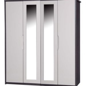 Julia Gloss Quality Bedroom 4 Door Mirror Wardrobe - Fully Assembled Grey Frame Variety Of Door Colours
