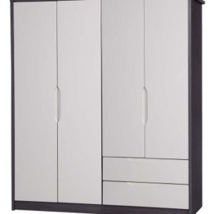 Julia Gloss Quality Bedroom Large Combi Wardrobe - Fully Assembled Grey Frame Variety Of Door Drawer Colours