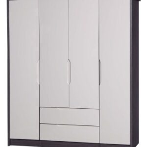 Julia Gloss Quality Bedroom Large Combi Center Wardrobe - Fully Assembled Grey Frame Variety Of Door Drawer Colours