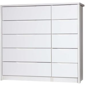 Kylie Gloss Quality Bedroom 5 Drawers Chest Double - Fully Assembled White Frame Variety Of Drawer Colours