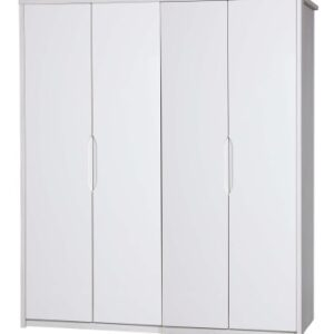 Kylie Gloss Quality Bedroom 4 Door Wardrobe - Fully Assembled White Frame Variety Of Door Colours