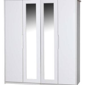 Kylie Gloss Quality Bedroom 4 Door Wardrobe With Mirrors - Fully Assembled White Frame Variety Of Door Colours