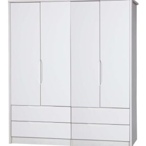 Kylie Gloss Quality Bedroom Double Combi Mirror Wardrobe - Fully Assembled White Frame Variety Of Door Drawer Colours