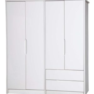 Kylie Gloss Quality Bedroom Large Combi Wardrobe - Fully Assembled White Frame Variety Of Door Drawer Colours