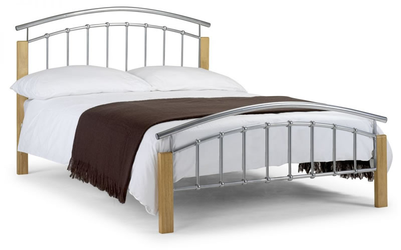 Krale Modern Bed Aluminium Frame With Solid Light Oak Legs