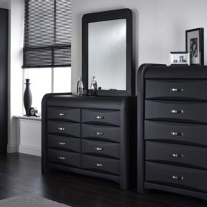 Kevin Black Faux Leather Dresser 8 Drawer Fully Assembled