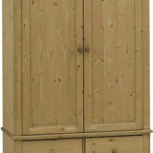 Caledonian Waxed Pine Wardrobe - 2 Door + 2 Drawer Danish Made