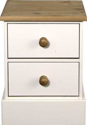 Caledonian Waxed Look Pine White Bedside Table Danish Made Quality