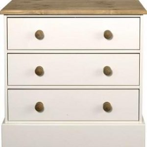 Caledonian Waxed Look Pine White 3 Drawer Chest Danish Made Quality