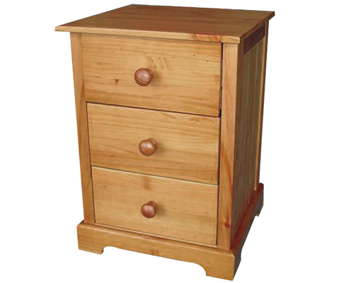 Balsam Pine Bedside Cabinet With 3 Drawers
