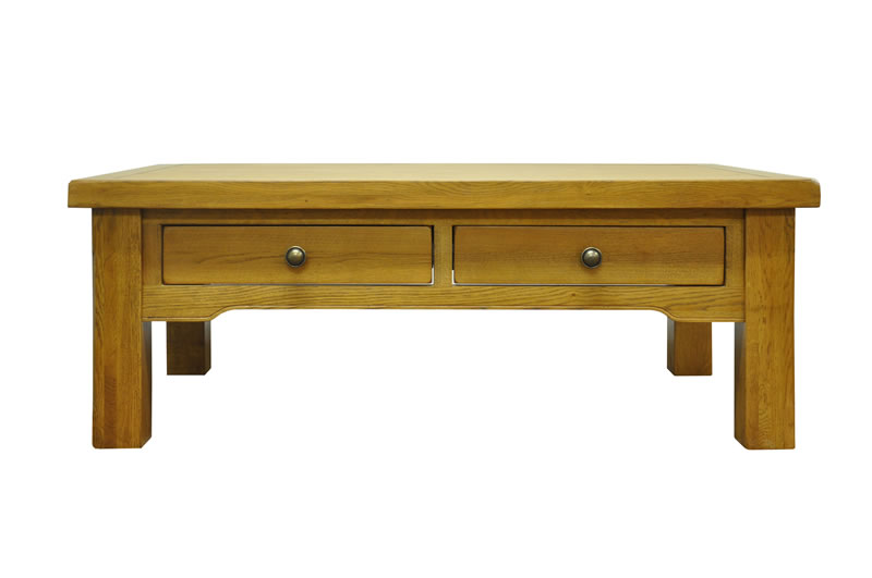 Fanone Large 4 Drawer Coffee Table Classic Style Oak Fully Assembled