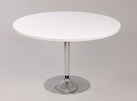 Becks Large White Round Table Kitchen And Dining Table Chrome 100Cm Or 120Cm