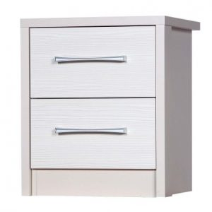 Ashley Quality Bedroom 2 Drawer Chest Table - Fully Assembled Cream Frame White Drawers