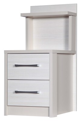 Ashley Quality Bedroom 2 Drawer Bedside Headboard- Fully Assembled Cream Frame White Drawers