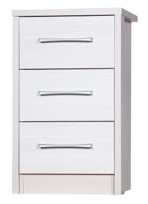 Ashley Quality Bedroom 3 Drawer Bedside - Fully Assembled Cream Frame White Drawers