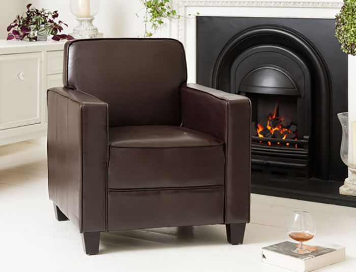 Austria Brown Sofa Tub Chair Faux Leather Commercial Quality Single Seater