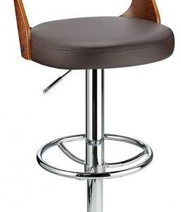 Balkony Walnut Kitchen Breakfast Bar Stool Brown Padded Seat Height Adjustable