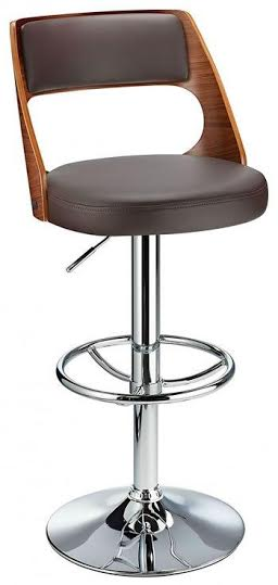 Balkony Walnut Kitchen Breakfast Bar Stool Brown Padded Seat Height Adjustable