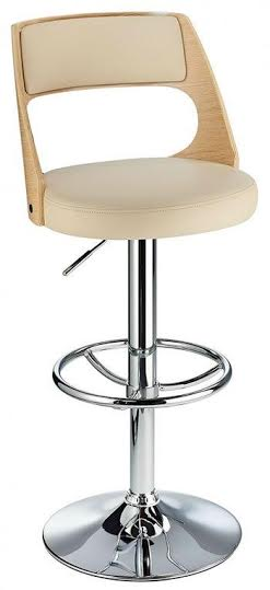 Balkony Oak Kitchen Breakfast Bar Stool Cream Padded Seat Height Adjustable