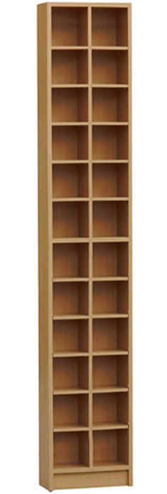 Camony Tall Sleek Cd Dvd Media Storage Tower Shelves - Oak