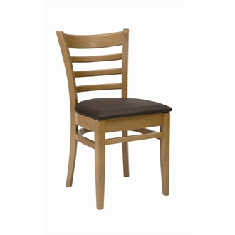 Dalia Oak Frame Kitchen Dining Chair With Brown Padded Seat Pad Fully Assembled