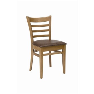 Dalia Oak Frame Kitchen Dining Chair With Mottle Brown Padded Seat Pad Fully Assembled