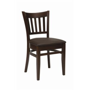 Masha Kitchen Dining Chair Walnut Frame Brown Padded Seat Fully Assembled Commercial Quality