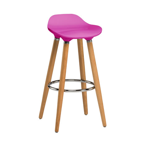 Moreno Hot Pink Modern Kitchen Bar Stool Height Fixed Height Beech Legs