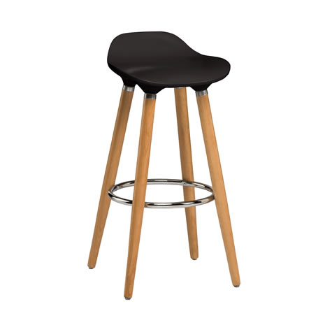 Moreno Black Modern Kitchen Bar Stool Height Fixed Height Beech Legs