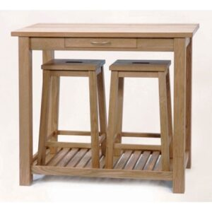 Camilla Solid Oak Bar Table And 2 Stowaway Stools
