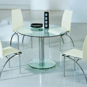 Tayzon Large Round Clear Glass Dining Table Set With 4 Cream Padded Chairs