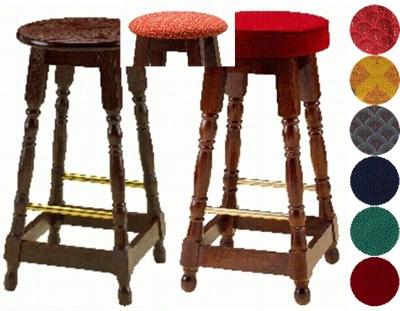Basra Wood Frame Breakfast Bar Stool Unpaddes Polished Wood Seat Fully Assembled